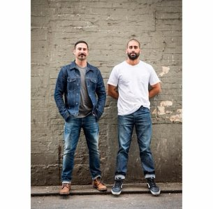 Matt and Andrew Brodrick, wearing Freenote jeans, T-shirts and jacket.