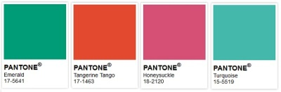 Pantone's recent colors of the year: Emerald Green 17-5641 (2013), Tangerine Tango 17-1463 (2012), Honeysuckle 18-2120 (2011) and Turquoise 15-5519 (2010)