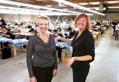 MAKING IT EASIER TO MAKE IT HERE: Deborah Kirkland and Randa Allen. With 160 employees and an 80,000-square-foot facility in the Los Angeles Garment District, The Trend Chasers offers brands and retailers a full-package option for domestic production.