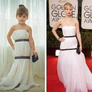 "Four-year-old ""Mayhem"" Keiser's paper copy of Jennifer Lawrence's Golden Globes dress."