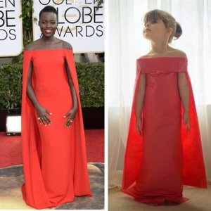 """Mayhem"" Keiser's paper copy of the dress Lupita Nyong'o wore to the Golden Globes awards."