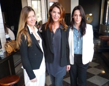 Chelsey Santry, left, with models. All three are wearing the new Capital Tailors collection.