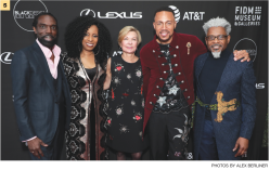 5 (From left) Black Design Collective co-founders Kevan Hall and Angela Dean; Barbara Bundy, the Fashion Institute of Design & Merchandising's vice president of education; FIDM student and BDC scholarship winner Devert Monet-Hickman; and TJ Walker, co-founder of Cross Colours and BDC.